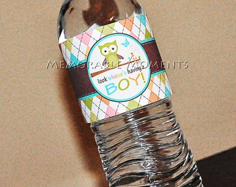 INSTANT DOWNLOAD Printable Water Bottle Labels Owl Baby Shower Collection - Memorable Moments Studio