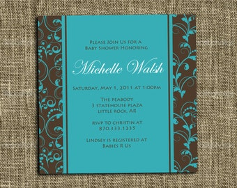 PRINTABLE INVITATION - 5x5 or 5x7 Custom Bridal or Baby Shower Invitation - Memorable Moments Studio