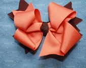 Traditional Halloween Boutique Bow - Halloween Hair Fashion - Orange - Brown - Loopy Fall Bow - Oct 31 - Thanksgiving - Charlie Brown Bow