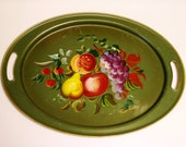 Vintage Hand Painted Metal Tole Tray