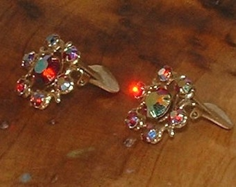 Vintage Aurora Borealis Flower Earrings
