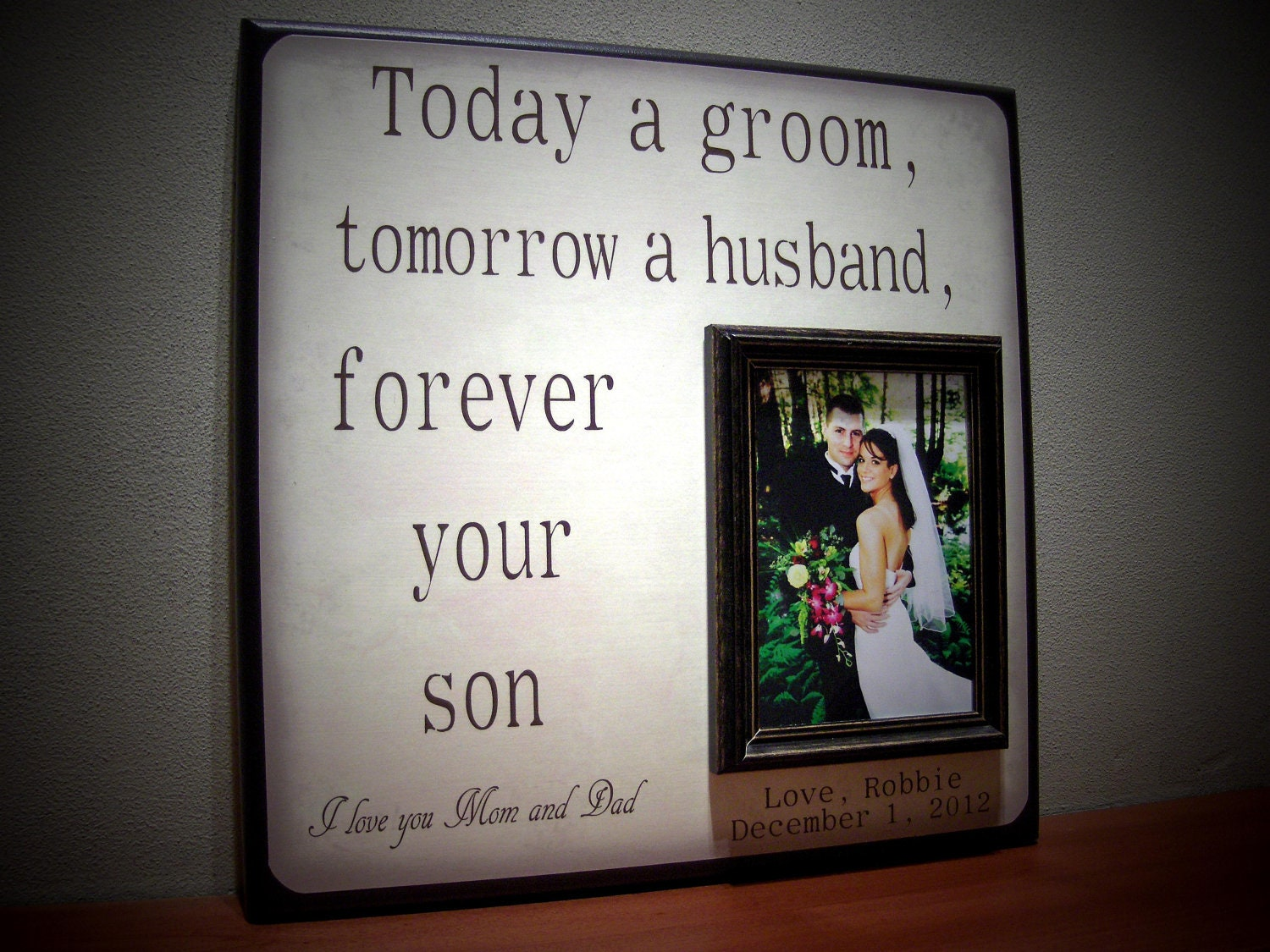 Wedding Present For My Mom : Mother of the Groom Gift Father of the Groom by YourPictureStory