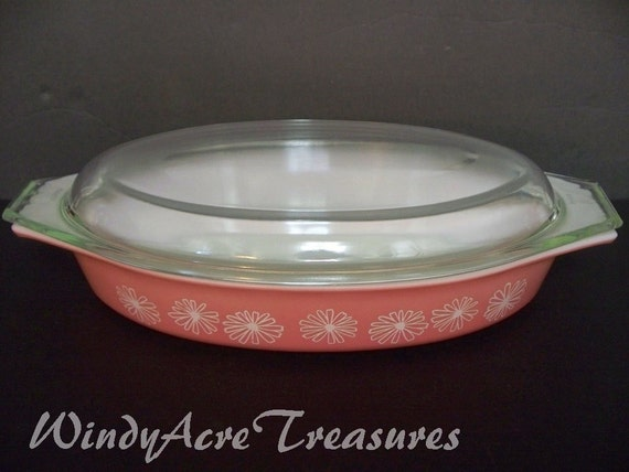RESERVED for heartxglass. Lovely Pyrex Pink Daisy Low Casserole is Charming Cottage Chic Ten Dollar Treasure at WindyAcreTreasures
