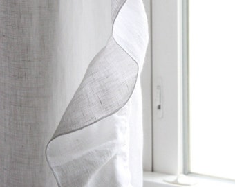 Linen curtain with ruffed edge White or custom color drapes Window curtains by Lovely Home Idea