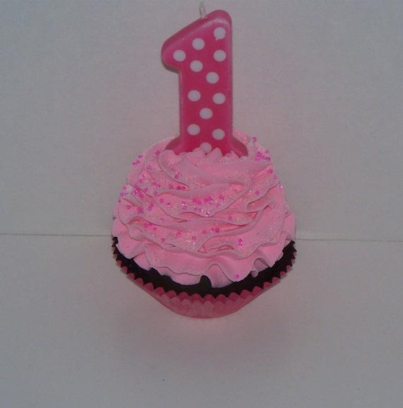 Pink 1st Birthday Polka Dot Candle: Pink Polka Dot 1st First Birthday Fake By FakeCupcakeCreations
