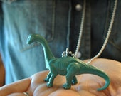 "Teal/ Turquoise Toy Brontosaurus Dinosaur 36"" Ball Chain Necklace, statement, unique, hopster, mod"