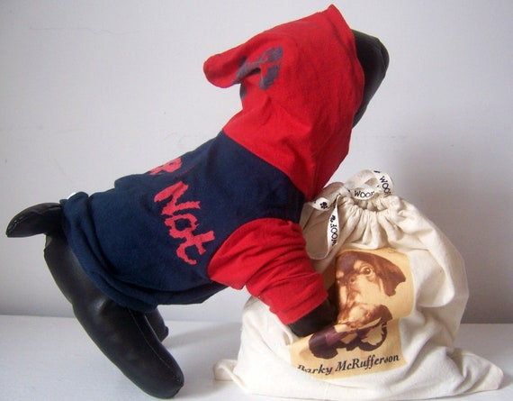 """SIZE XS Cotton Blue and Red Dog Hoodie,""""Maybe, Maybe Not"""""""