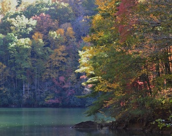 Autumn Serenity - Photograph -  fall mountain lake photo