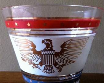 American Eagle Glass Bowl Ice Bucket