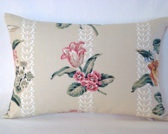 Linen Lumbar Pillow Linen Accent Tulip Print Biege Decorative Pillow Cover 13x20 Pillow Cover