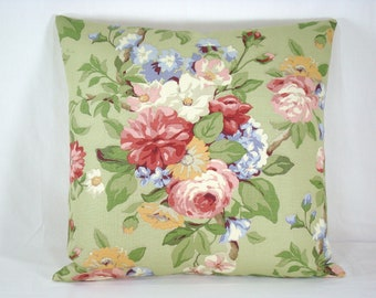 Green Cottage Floral Pillow Accent Pillow 18x18 Pillow Cover