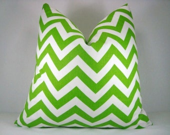 18x18 Decorative Pillow, Accent Pillow,Toss Pillow Chartreuse and White Chevron Pillow