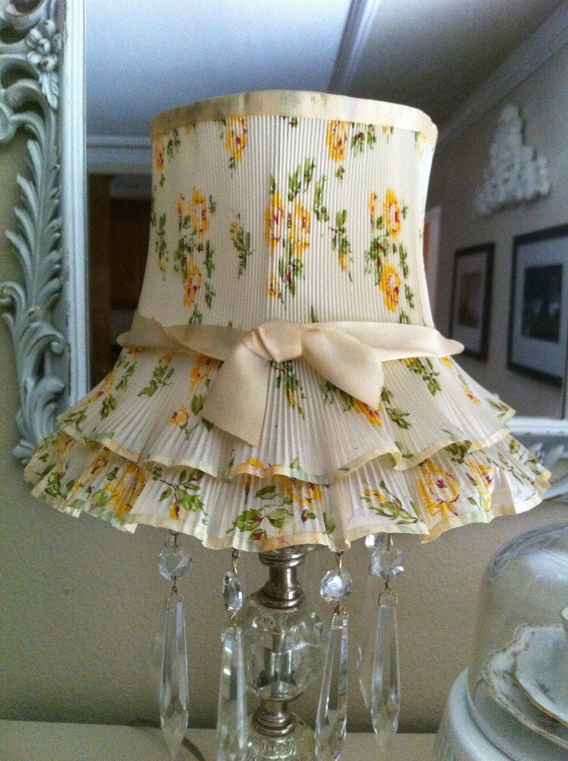 vintage floral flower lamp shade romantic boudoir french