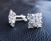 Silver groom cuff link, silver plated square diamond look alike rhinestone cuff links, men's cuff links
