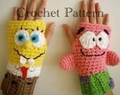 Sponge Bob & Patrick Fingerless Gloves Crochet PATTERN PDF