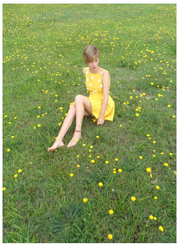 Daisy a Day Dress, Hand-dyed Yellow Linen Backless Circle Skirt Bustle Effect Mini Dress, US6-8, AU10-12