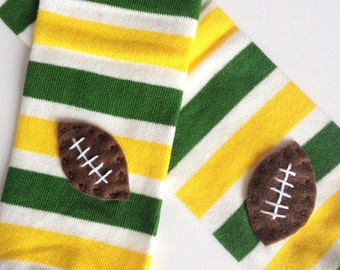 Snack Size Leg Candy Football Baby Leg Warmers: green, yellow, white stripes with footballs