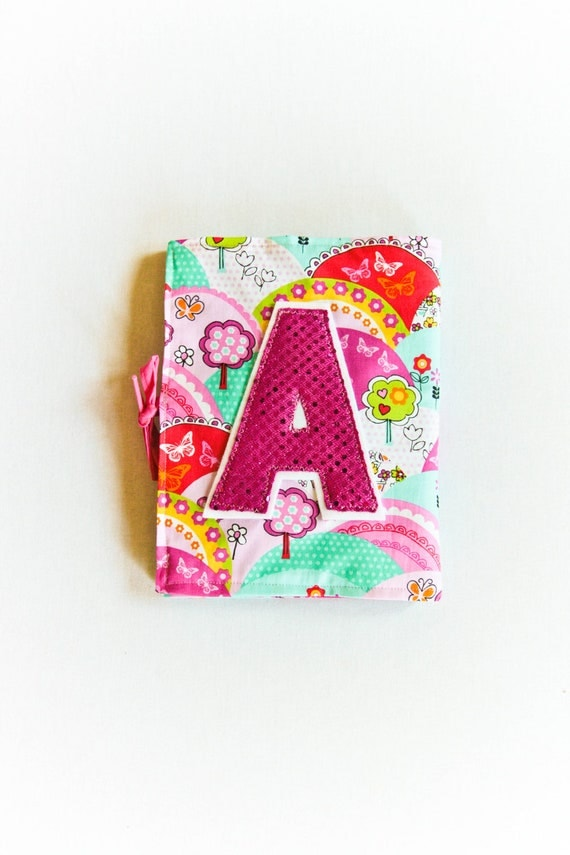 Personalized Pink Notebook for Girls, Custom Gift, Journal Set with Sequin Fabric Initial, Pink Aqua