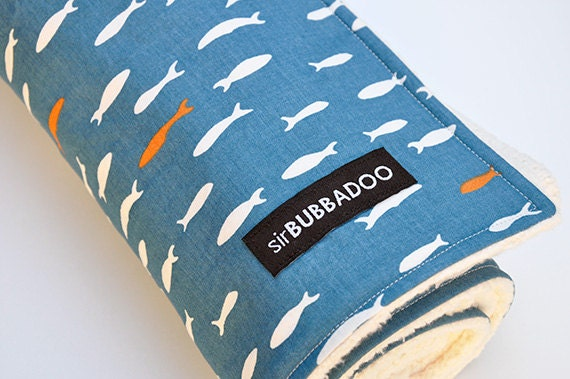 Organic Baby Blanket, Fish and Organic Cotton Sherpa