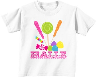 DIY Candy Shoppe Printable Iron On Transfer birthday shirt  t- shirt bag onesie  candyland lollipop