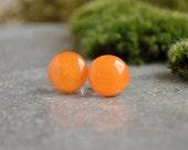 Tangerine Dots Stud Earrings- Neon Orange - Hypoallergenic Surgical Stainless Steel Post Earrings