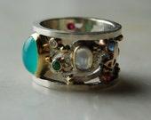 SUPER SALE Handcrafted Sterling 18k 14k pierced ring 3.2 ct.Peruvian Opal,rubies,sapphires,emeralds,moonstones,diamonds-size 7 Treasury item