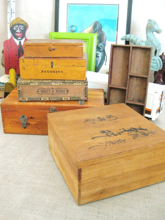 Vintage Wooden Box Collection - Vases/ Baskets/Boxes/ Holiday