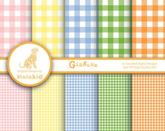 Gingham Digital Paper Pack, INSTANT DOWNLOAD, Digital Scrapbook Paper, Printable Papers