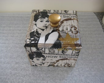 Wooden Trinket Box Audrey Hepburn Design Hand Made