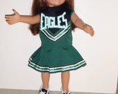 "Eagles 3 pc  cheerleading outfit  or pleated cheerleader outfit for 18"" doll"