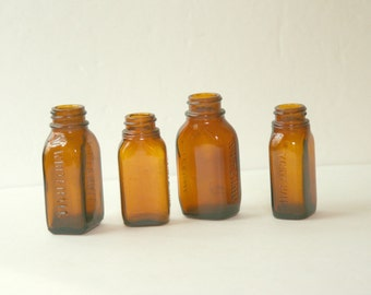 Vintage Amber Apothecary Bottles Set of 4
