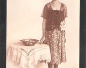 100 year old Social History Postcard British Edwardian period dress bonnet fashion lace tablecloth antique vintage postcards
