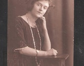 100 year old Social History Postcard British Edwardian period dress PEARLS AND WATCH fashion antique vintage postcards
