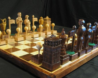 Chess Set Custom Hand Carved Golf Chess Set 2013  on etsy custom chess sets, custom chess pieces, and custom chess boards