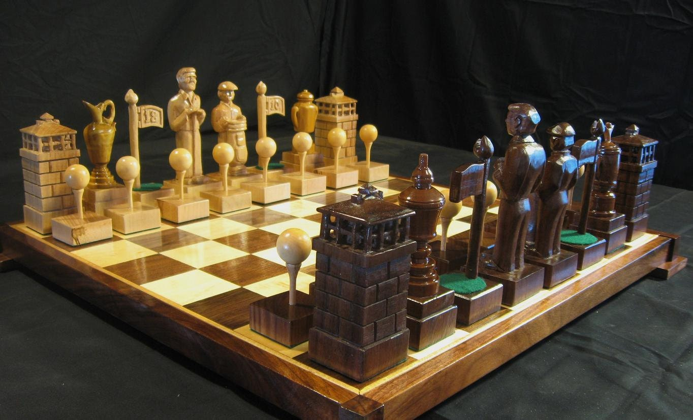 Fancy Chess Boards The Golf Chess Set By Jim Arnold