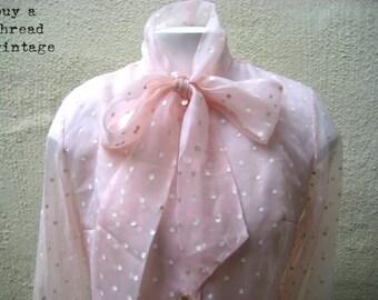 Vintage Shell Pink Polka Dot semi sheer blouse