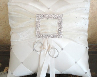 Ring Bearer Pillow, Wedding Pillow, Ring Pillow,  Ivory or Custom Made to your colors with Swarovski Crystals