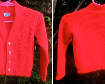 Vintage Orlon Acrylic Cable Knit Baby Red V-Neck Button Up Sweater
