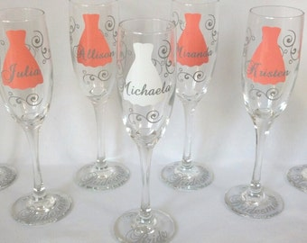 Bridesmaid dress champagne flutes glasses, name over the dress and title on the base, your choice of colors. 1 glass.