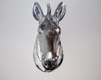 Zebra Head Wall Mount - Chrome - Faux Taxidermy Z13