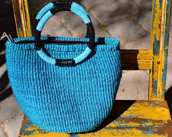 vtg Woven Sisal Jute Fully glass Beaded handles Blue TOTE or Purse