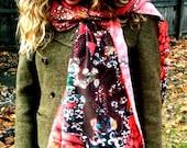Batik scarf - Silk scarf -  Magic Frogs Rising - women's fashion -  from original batik