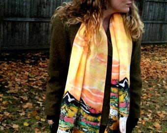 batik - Silk scarf - shawl -  large - Sheep on a Sunny Summer Day - custom printed scarf from original batik