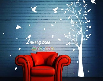 "Wall Decal, wall Stickers ,Tree Wall Decals ,Wall decals, Nursery wall decal,Childrenwall decals, ""Lovely Tree"" and birds Removable"