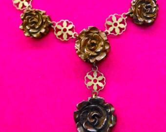 Antique Victorian Mourning Bog Oak Chocolate Brown Rose & Brass Filigree Necklace