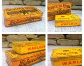 Duo of old metal tin boxes with advertising