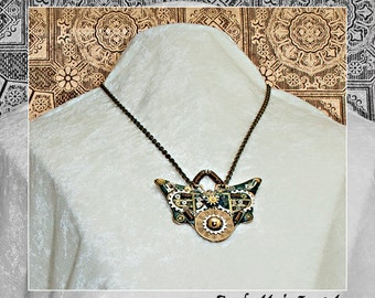 Antiqued Patina Steampunk Gears Springs Coils Clock Mechanism Mothra Butterfly Pendant Necklace