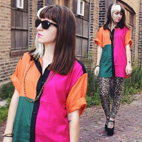 Oversized KLOZ Color Blocked Button Up Blouse (New With Tags) - Size S-M-L