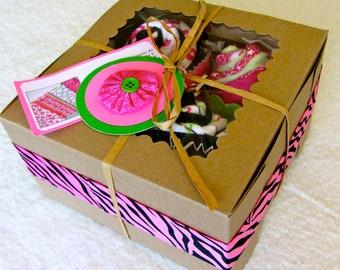 Burp Cloth Cupcake Baby Girl Gift Set, 80's Neon Style