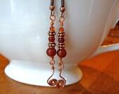 Carnelian Copper Wire Wrap Earrings